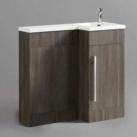 Eldun 900mm Right Hand Bathroom Wood Grey Basin Vanity & Wc Unit