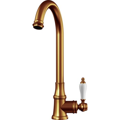 Elect Traditional Style Kitchen Sink Mixer with Swivel Spout & Single Lever - Brushed Copper Finish