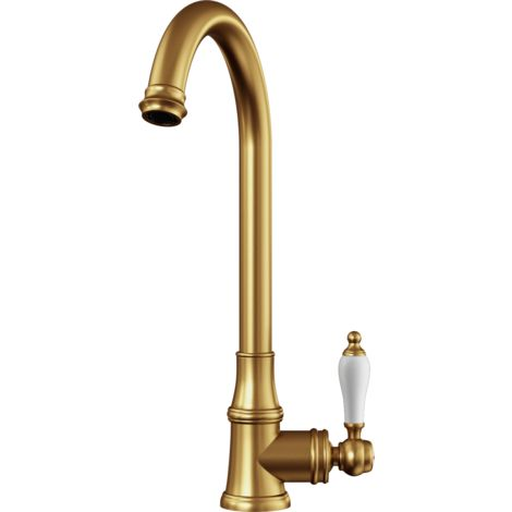 Elect Traditional Style Kitchen Sink Mixer with Swivel Spout & Single Lever - Brushed Gold Finish