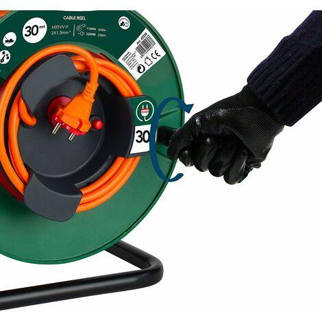 Electraline 49236 Rallonge Prolongateur, 30 MT, Prise et connecteur européen, Convient aux appareils de Jardinage, avec Protection et Tambour Fixe, Section de câble 2x1,5 mm², Vert