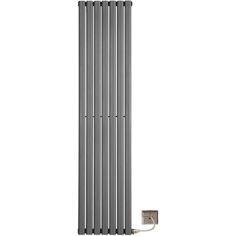Electric 1800 x 420 Single Anthracite Oval Tube White Central Heating Designer Column Radiator programable timer and room Thermostat