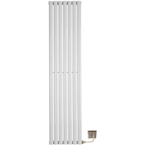 Electric 1800 x 420 Single Oval Tube White Central Heating Designer Column Radiator with programable timer and room Thermostat