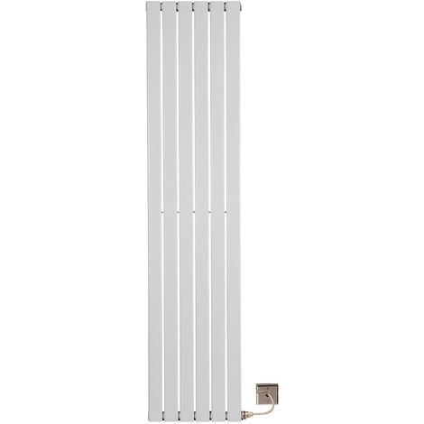 Electric 1800 x 452 Single Flat Tube White Central Heating Designer Column Radiator with programable timer and room Thermostat