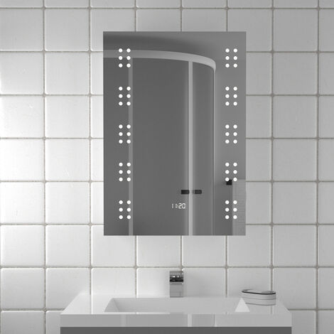 Electric 60 LED Lighted Bathroom Mirror with Digital Clock Sensor Shaver Socket