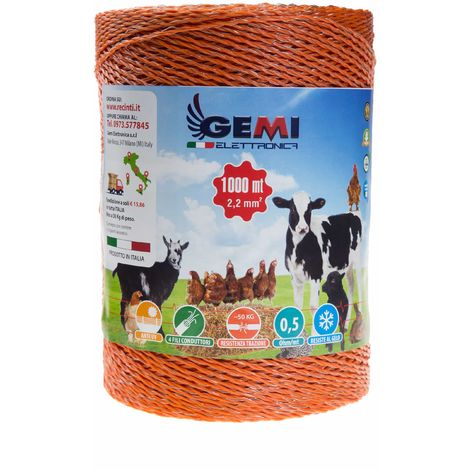 ELECTRIC FENCE PolyWire 1000 Mt 2,2 Mm² For Electric Fences Electric Fencing For Animals Dogs Cows Hens Horses Cattle Sheep Goats Pigs Gemi Elettronica
