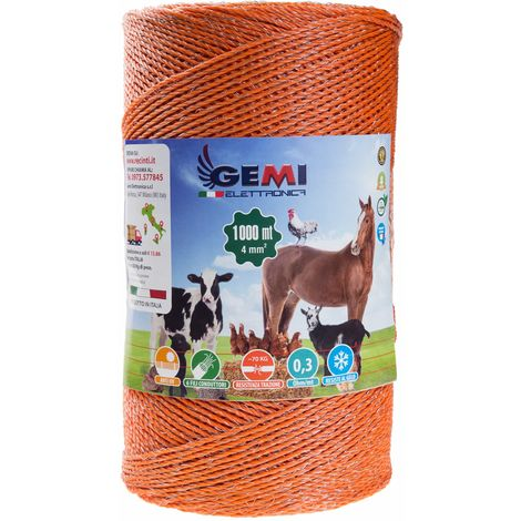 ELECTRIC FENCE PolyWire 1000 Mt 4 Mm² For Electric Fences Electric Fencing For Animals Dogs Cows Hens Horses Cattle Sheep Goats Pigs Gemi Elettronica