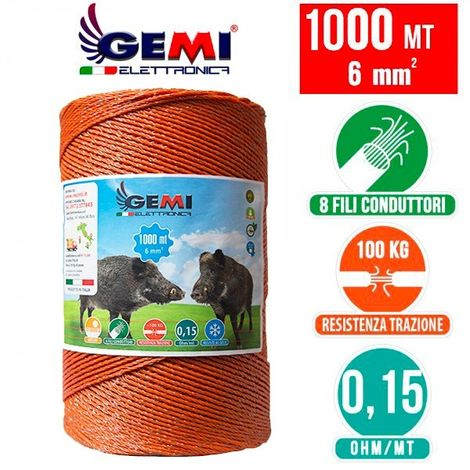 ELECTRIC FENCE PolyWire 1000 Mt 6 Mm² For Electric Fences Electric Fencing For Animals Wild Boar Dogs Cows Horses Pigs Hens Gemi Elettronica