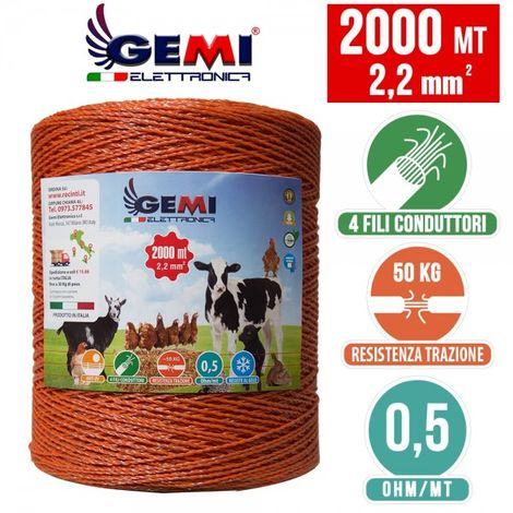 ELECTRIC FENCE PolyWire 2000 Mt 2,2 Mm² For Electric Fences Electric Fencing For Animals Dogs Cows Hens Horses Cattle Sheep Goats Pigs Gemi Elettronica
