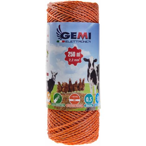 ELECTRIC FENCE PolyWire 250 Mt 2,2 Mm² For Electric Fences Electric Fencing For Animals Dogs Cows Hens Horses Cattle Sheep Goats Pigs Gemi Elettronica