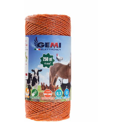 ELECTRIC FENCE PolyWire 250 Mt 4 Mm² For Electric Fences Electric Fencing For Animals Dogs Cows Hens Horses Cattle Sheep Goats Pigs Gemi Elettronica
