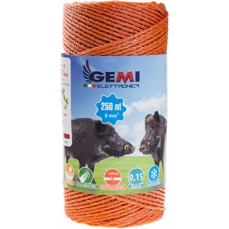 ELECTRIC FENCE PolyWire 250 Mt 6 Mm² For Electric Fences Electric Fencing For Animals Wild Boar Dogs Cows Horses Pigs Hens Gemi Elettronica