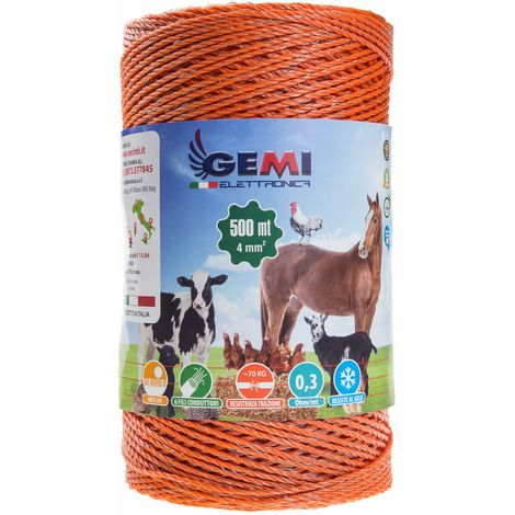 ELECTRIC FENCE PolyWire 500 Mt 4 Mm² For Electric Fences Electric Fencing For Animals Dogs Cows Hens Horses Cattle Sheep Goats Pigs Gemi Elettronica