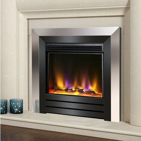 Electric Fire Inset Fireplace Heater Modern LED Lighting Remote Chrome/Black