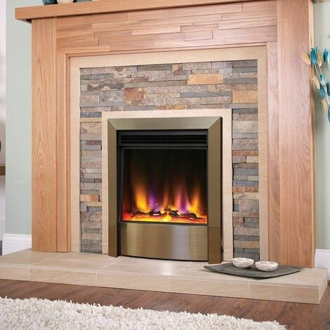 Electric Fire Inset Fireplace Heater with Remote Control Modern Champagne Finish