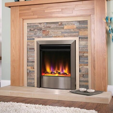Electric Fire Inset Fireplace Heater with Remote Control Satin Silver Modern