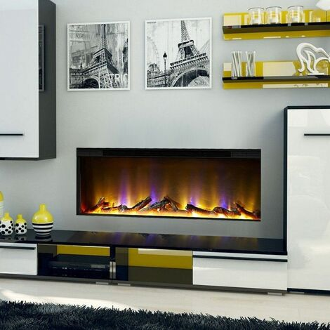 Electric Fireplace Inset Fire Heater Modern LED Lighting Remote Control Glass