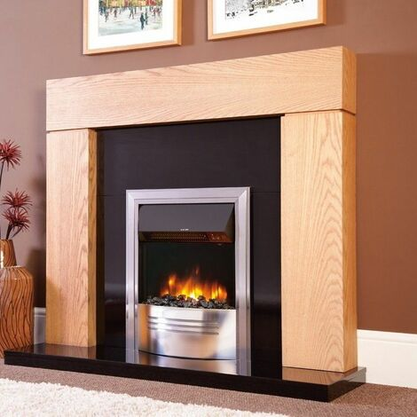 Electric Fireplace Stove Heater Fire Flame Effect Inset Chrome Thermostatic