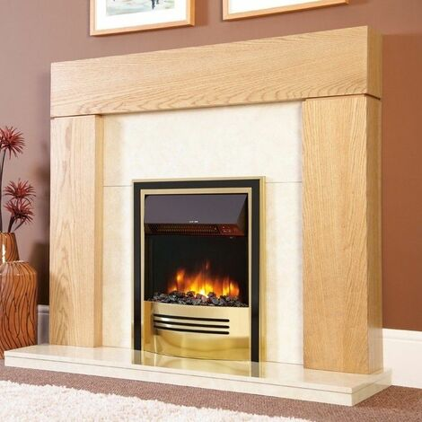 Electric Fireplace Stove Heater Fire Place Flame Effect Inset Brass & Black