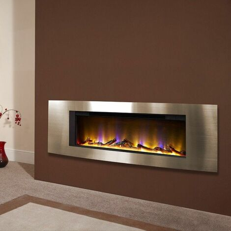 Electric Fireplace Wall Mounted VR Fire Heater Modern LED Flame Timer Eco