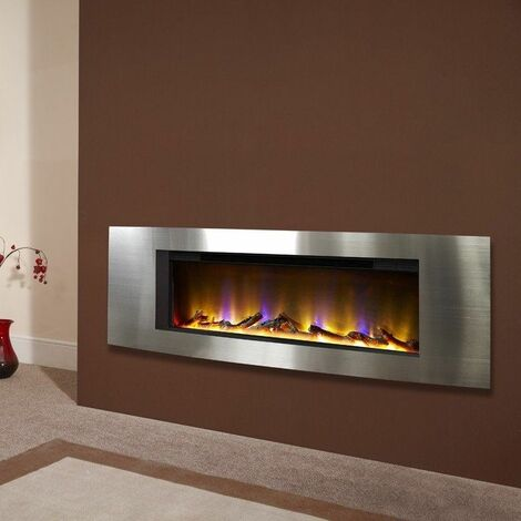 Electric Fireplace Wall Mounted VR Fire Heater Modern LED Flame Timer Silver Eco