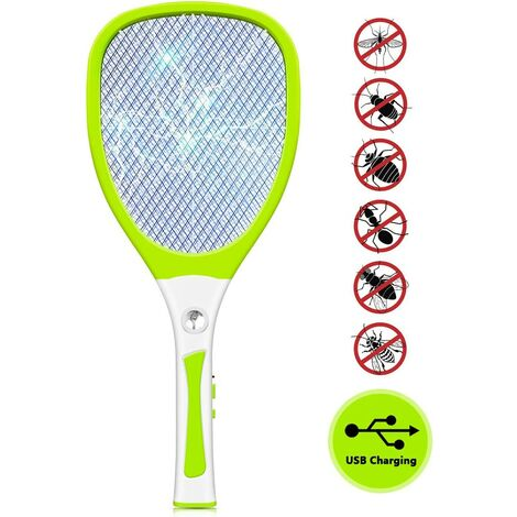 Electric fly swatter with 3000 V USB rechargeable LED lighting