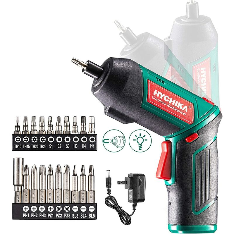 Image of Electric Screwdriver, 6N·m and 2000mAh HYCHIKA 3.6V Cordless Screwdriver with 20 Accessories, Work Light, Charger and Magnetic Chuck