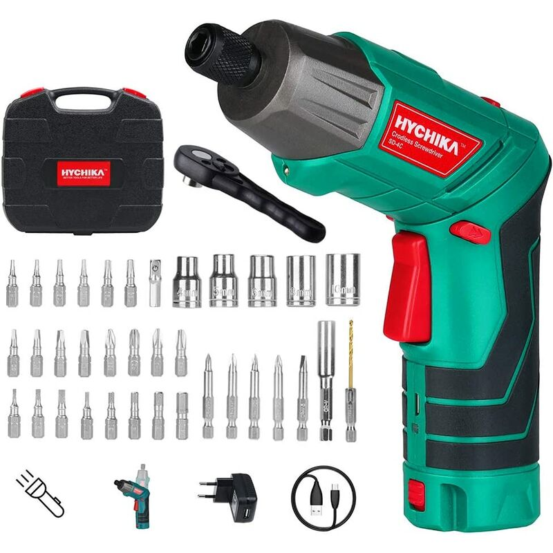 Image of Electric Screwdriver, 6N·m Max Torque Cordless Screwdriver 2000mAh 3.6V with 36 Accessories, LED Light and Rear Flashlight, Ratchet Wrench, Charging