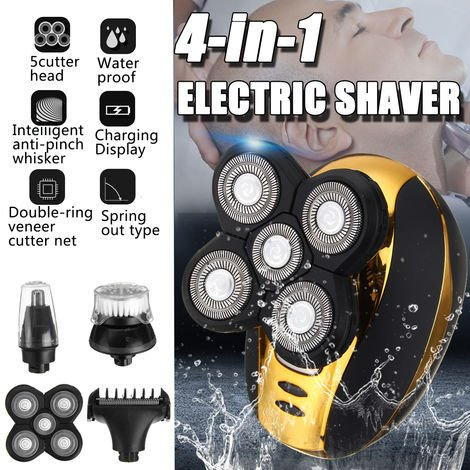 Electric Shaver 4 In 1 5 Heads Floating Razor Rechargeable Cordless Razor Nose Razor Hair Clipper Beard Trimmer