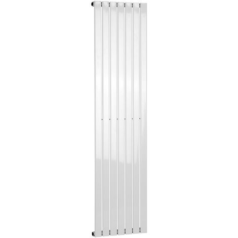 Electric Single Flat Tube 1800 x 412 White Central Heating Designer Column Radiator with programable timer and room Thermostat