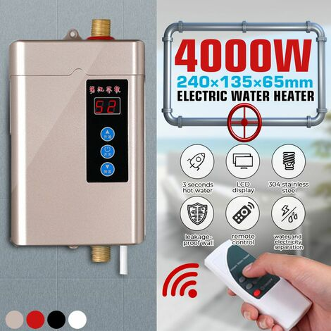 Electric tankless instantaneous water heater under the sink faucet Bathroom kitchen (gold, EU plug 4000W)
