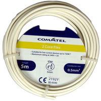 Electrical Cable 2 Core Flex White 0.5mm2 Commtel 2 Core Flex White 5m 0.5mm2