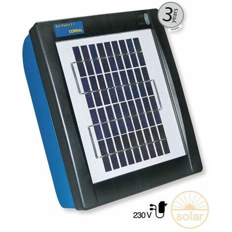 Electrificateur avec panneau solaire intégré CORRAL SUN POWER S1 pour clôtures jusqu'à 2 km pour chevaux, chiens et animaux de ferme