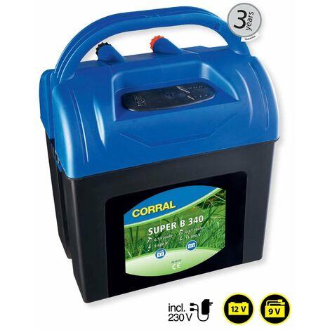 Electrificateur CORRAL SUPER B340 batterie 9V/12V et 230V courant pour chevaux, chiens, animaux sauvages et clôtures de ferme jusqu'à 4 km