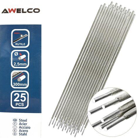 Electrodes rutile 2,5 x 300 mm 25 pièces AWELCO Baguette enrobée soudure à l'arc Acier