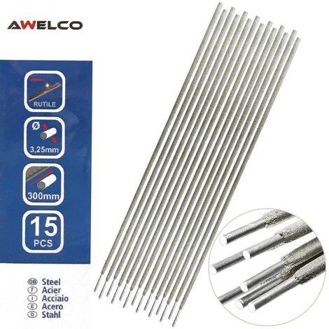 Electrodes rutile 3,25 x 300 mm 15 pièces AWELCO Baguette enrobée soudure à l'arc Acier