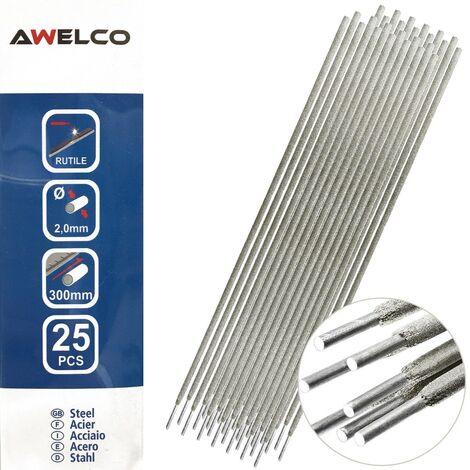 Electrodes soudage rutile 2 x 300 mm 25 pièces AWELCO Baguette enrobée soudure à l'arc Acier