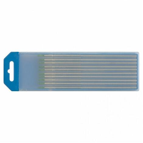 Électrodes tungstène WP (pur) Ø1,6x150mm - Vert (Alu) (x10)