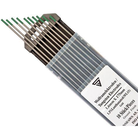 Electrodos de tungsteno WP verde 1,6 mm x 175 mm 10 piezas