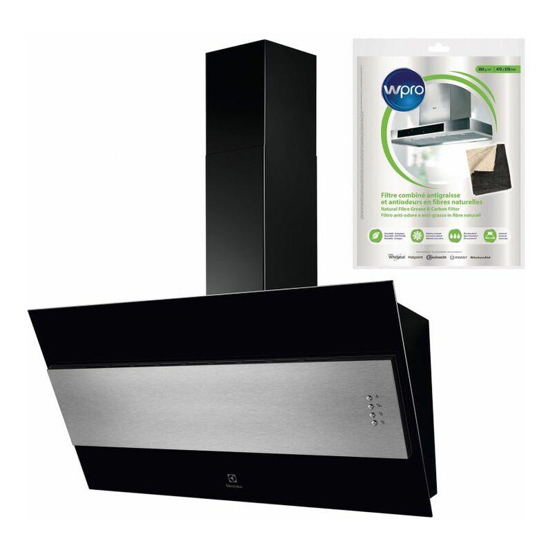 ELECTROLUX Hotte Décorative incliné Aspirante Noire Largeur 90cm Débit d'air 600m3/h - Noir