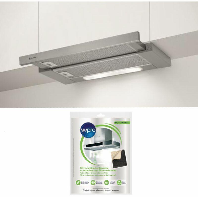 Hotte escamotable tiroir télescopique inox largeur 60cm débit d'air 603m3/h - Inox - Electrolux