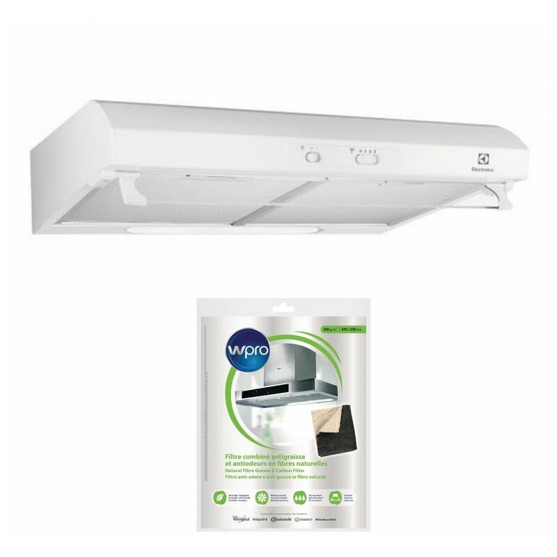 ELECTROLUX Hotte visière Casquette aspirante blanc largeur 60cm débit d'air 272m3/h - Blanc