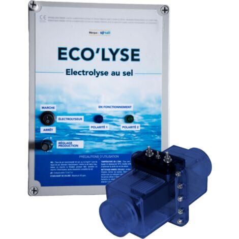 Electrolyseur au sel pour piscine jusqu'à 90 m3, 4 gr/L, production 19 gr/L, modèle Eco'lyse 90 de ByPiscine