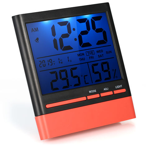 Electronic indoor temperature and humidity meter with backlight perpetual calendar