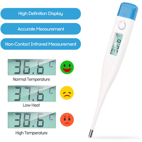 Electronic Thermometer Convenient Quick Temperature Measuring Instrument White/Blue Cover Random Delivery