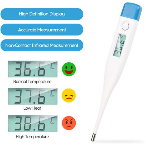 Electronic Thermometer Temperature Measuring Instrument White/Blue Cover Random Delivery
