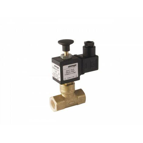 """Electrovanne gaz à réarmement manuel NF laiton 3/4"""" 6Bar"""