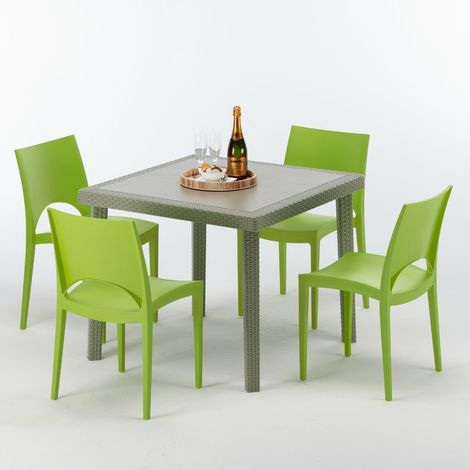 ELEGANCE Set Made of a 90x90cm Beige Square Table and 4 Colourful Chairs