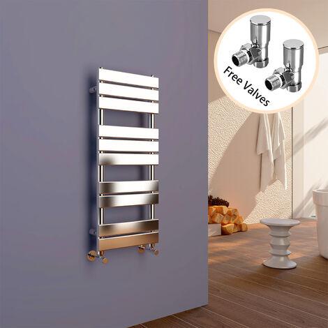 ELEGANT 1000 x 400 Modern Flat Panel Heated Towel Rail Radiator + Angled Radiator Valves