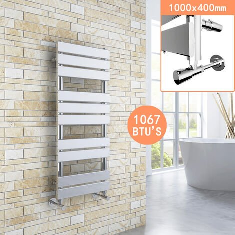 ELEGANT 1000 x 400 Modern Flat Panel Heated Towel Rail Radiator + Chrome Thermostatic Radiator Valves