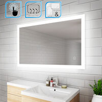 ELEGANT 1000 x 600 mm Illuminated LED Bathroom Mirror Wall Mirror Bathroom Mirrors with Light and Demister and Sensor IP44 Rated